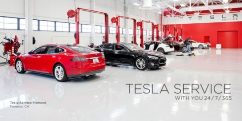 Tesla Service centers have impractical white floors to highlight that the cars run clean without messy oil and fluids